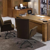 Contemporary office armchair / leather / on casters / residential