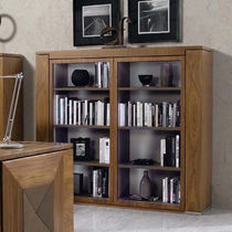 Contemporary bookcase / walnut / glass-front