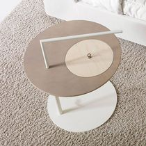 Contemporary side table / lacquered wood / round