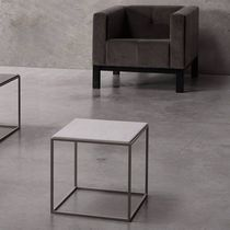 Contemporary side table / wooden / metal / stone