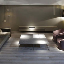 Contemporary coffee table / wooden / metal / stone
