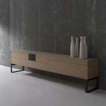 Contemporary sideboard / metal / oak