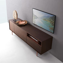 Contemporary television cabinet / metal / oak