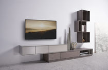 Contemporary TV wall unit / lacquered wood / oak