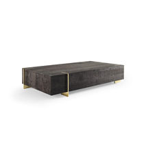 Contemporary coffee table / oak / stainless steel / rectangular