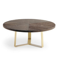 Contemporary dining table / walnut / metal / round