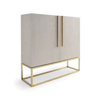 Contemporary bar cabinet / oak / polished brass