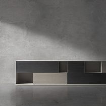Contemporary sideboard / metal / oak / custom