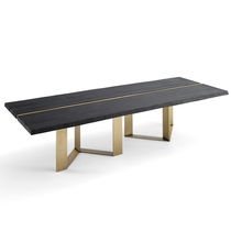 Contemporary dining table / wooden / stainless steel / brass