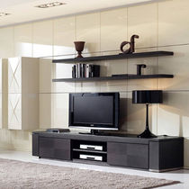 Contemporary TV wall unit / walnut / wood veneer