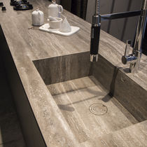Porcelain stoneware countertop / outdoor / heat-resistant / stain-proof