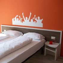 Hotel room headboard / for double beds / contemporary / wooden