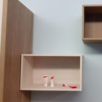 Hotel shelf / wall-mounted / contemporary / wooden