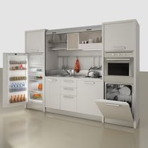 Compact kitchen / contemporary / wooden / contract
