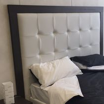 Double bed headboard / contemporary / wooden / leather