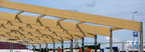 Glue-laminated wood beam / rectangular / arched / double-pitched roof