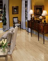 Solid parquet flooring / nailed / white oak / high-gloss