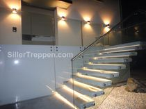 Straight staircase / overhead / for commercial buildings / without risers