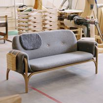 Contemporary sofa / leather / wood / 2-seater