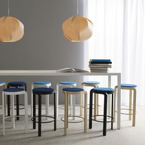 Contemporary bar stool / ash / upholstered / blue