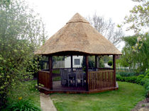 Wood gazebo / with thatched roof