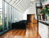 Floor-standing lamp / contemporary / aluminum / glass