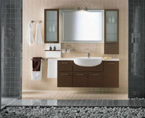 Wall-hung washbasin cabinet / crystal / contemporary / with drawers