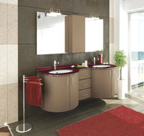 Double washbasin cabinet / contemporary / wall-hung / curved
