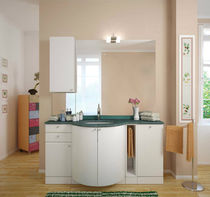 Contemporary washbasin cabinet / free-standing / curved / white