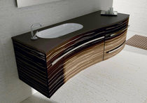 Contemporary washbasin cabinet / Corian® / glass / wall-hung