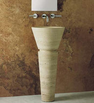 Free-standing washbasin / round / stone / contemporary