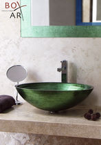 Countertop washbasin / oval / glass / contemporary