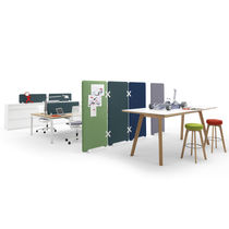 Floor-mounted office divider / countertop / fabric / plastic