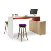 Contemporary high bar table / wood veneer / melamine / fabric