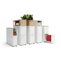 Wooden office unit / melamine / 2-drawer / with hinged door