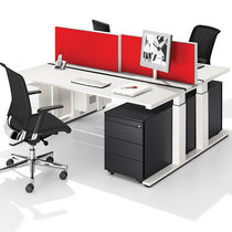Multimedia desk / wood veneer / MDF / melamine