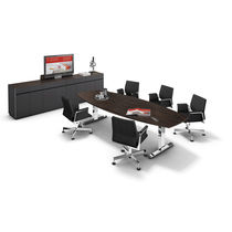 Contemporary conference table / metal / wood veneer / HPL