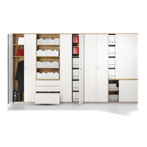 Tall filing cabinet / wood veneer / with hinged door / modular
