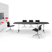 Contemporary boardroom table / metal / MDF / wood veneer