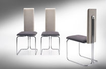 Contemporary chair / fabric / sled base