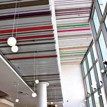 Aluminum suspended ceiling / steel / strip / acoustic