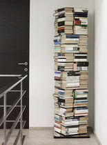 Contemporary bookcase / in lacquered stainless steel / rotating