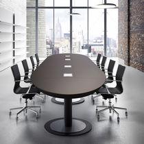 Boardroom table / contemporary / leather / wood veneer
