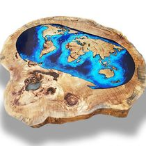Contemporary coffee table / wooden / resin