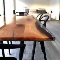 Dining table / contemporary / oak / resin