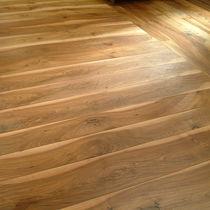 Engineered wood flooring / glued / antique walnut / oiled
