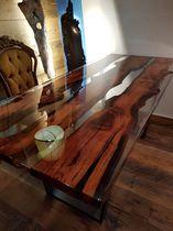 Contemporary dining table / Cornish oak / resin / rectangular
