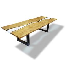 Contemporary dining table / wooden / epoxy / rectangular
