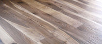 Engineered parquet flooring / glued / antique walnut / oiled