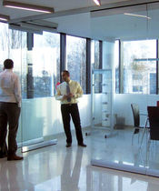 Sliding and stacking partition / glazed / professional / frameless